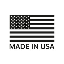 Made In USA Logo Or Label With US Flag. America Manufactured Icon. Vector Illustration.