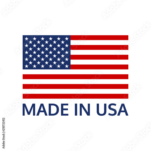 Made in USA logo or label with US flag Tableau sur Toile