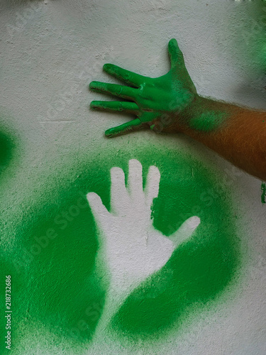 Photo  Hand cliche green paint 5