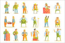 Construction Workers At Work Set Of Graphic Design Cool Geometric Style Isolated Drawings