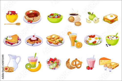 Fototapeta Breakfast Food Assortment Set Of Isolated Icons obraz