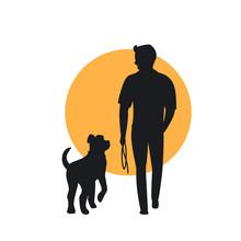 Man And Dog Walking Back View ...