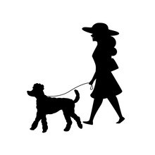 Woman Walking With Her Poodle ...