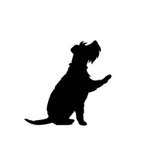 Cute Dog Giving A Paw Black Silhouette Vector Graphic