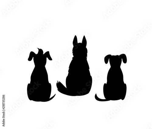 Fotografía different mixed breed dogs backside view silhouettes isolated vector graphic