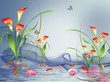 Flowers in water, goldfish, butterflies
