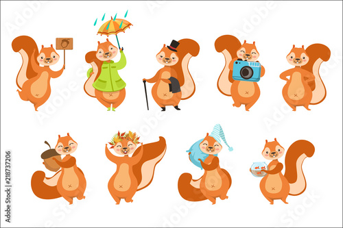Squirrel Different Activities Set Of Girly Character Stickers