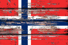 National Flag Of  Norway On A Dull Wooden Background