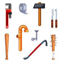 Set Of Cartoon Survival Game Items - Blunt Weapon
