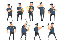 American Policeman Funny Characters Set. Cartoon Fun Style Vector Illustrations Isolated