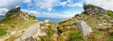 Rocky Outcrops On The Mountain Range In Carpathian Mountains