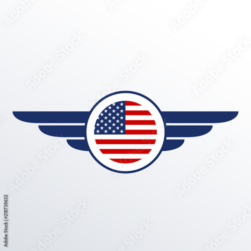 American Flag Template | Wings Badge With Usa Flag Winged American Flag Template Air Force