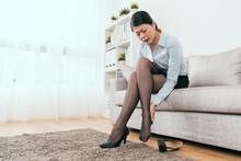 Beautiful Businesswoman Feel Leg Heel Cramp