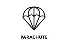 Parachute Air Landing Skydiving. Minimal Color Flat Line Outline Stroke Icon.