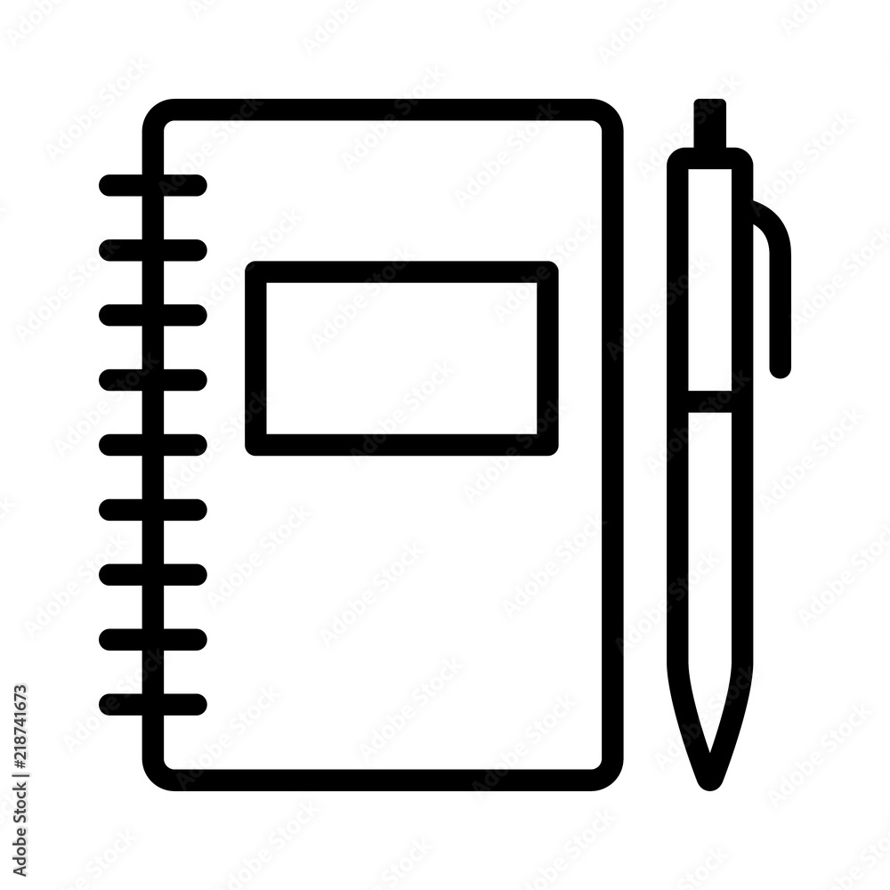 Fototapeta Note taking notebook or diary / journal with pen for writing line art vector icon for education apps and websites