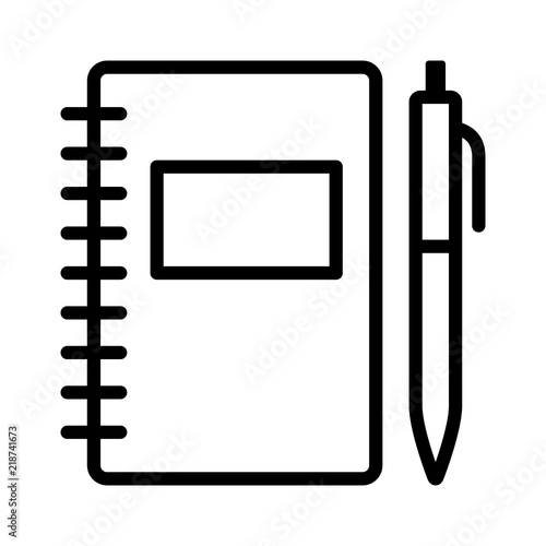 Obraz Note taking notebook or diary / journal with pen for writing line art vector icon for education apps and websites - fototapety do salonu