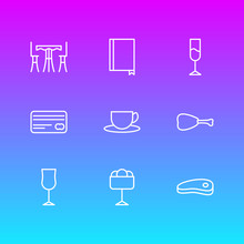 Vector Illustration Of 9 Eating Icons Line Style. Editable Set Of Ice Cream, Cup, Wineglass And Other Icon Elements.
