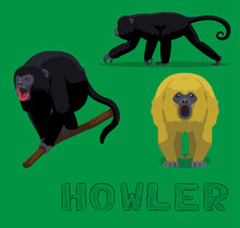 Howler Monkey Cartoon Vector Illustration