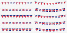 British Bunting Set With UK Flags. Great Britain Flags Garland. Union Jack Decoration For Celebrate, Party Or Festival. Vector Illustration.