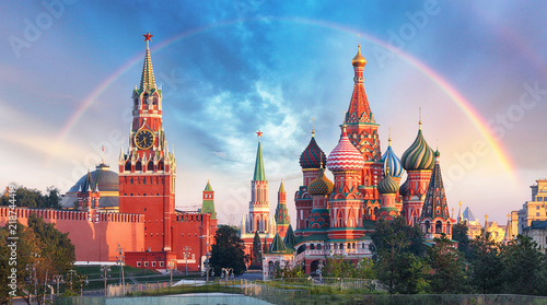 Fotobehang Moskou Moscow - Panoramic view of the Red Square with Moscow Kremlin and St Basil's Cathedral with rainbow