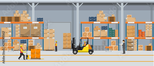 Obraz Warehouse Interior with Boxes On Rack And People Working. Flat vector and solid color style Logistic Delivery Service Concept illustration. - fototapety do salonu
