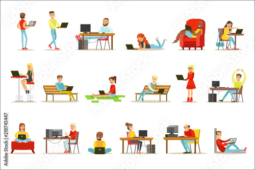 Photo  Happy People Spending Their Time Using Computer Set Of Vector Illustrations With