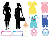 Pregnant Women And Clothing For Babies. Illustration Of The Silhouettes Of Motherhood And Sets Infant Outfits. Vector Format.