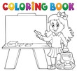 Coloring book happy pupil girl theme 4