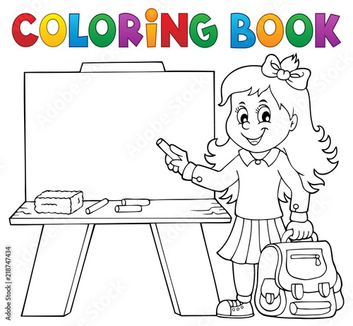 Recess Fitting For Kids Coloring book happy pupil girl theme 4