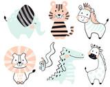 Fototapeta Fototapety na ścianę do pokoju dziecięcego - Crocodile, elephant, tiger, zebra, lion, giraffe, snake baby cute print set.