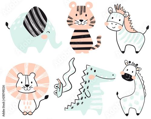 Crocodile, elephant, tiger, zebra, lion, giraffe, snake baby cute print set.