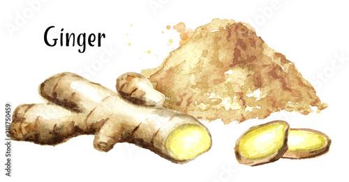 Obraz na plátně  Ginger root and powder