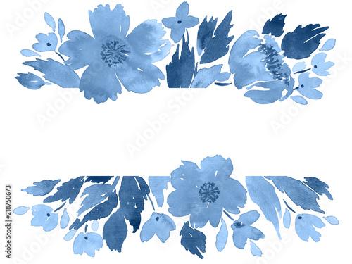 Fototapeta Watercolor Loose Flowers Arrangement Floral Greeting Card Invitation Template In Indigo Blue