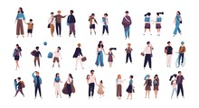 Crowd Of Pupils, School Children With Parents And Students Going To School, College Or University. Tiny People On Street Isolated On White Background. Colorful Vector Illustration In Flat Style.