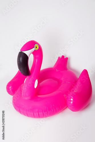 Garden Poster Flamingo Pink, trendy, blown beach flamingo on a white background. Hit the summer