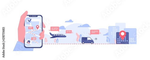 Fotografía Horizontal banner with hand holding smartphone with map on screen, various types of transport and location mark