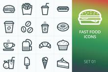 Fast Food Icons Set. Set Of Burger, French Fries, Coffee, Tea, Dessert, Bakery, Ice Cream Icons.