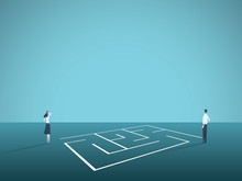 Business Solution Vector Concept With Businessman And Businesswoman Standing Next To Maze, Labyrinth. Symbol Of Creative Solutions, Challenge, Strategy.