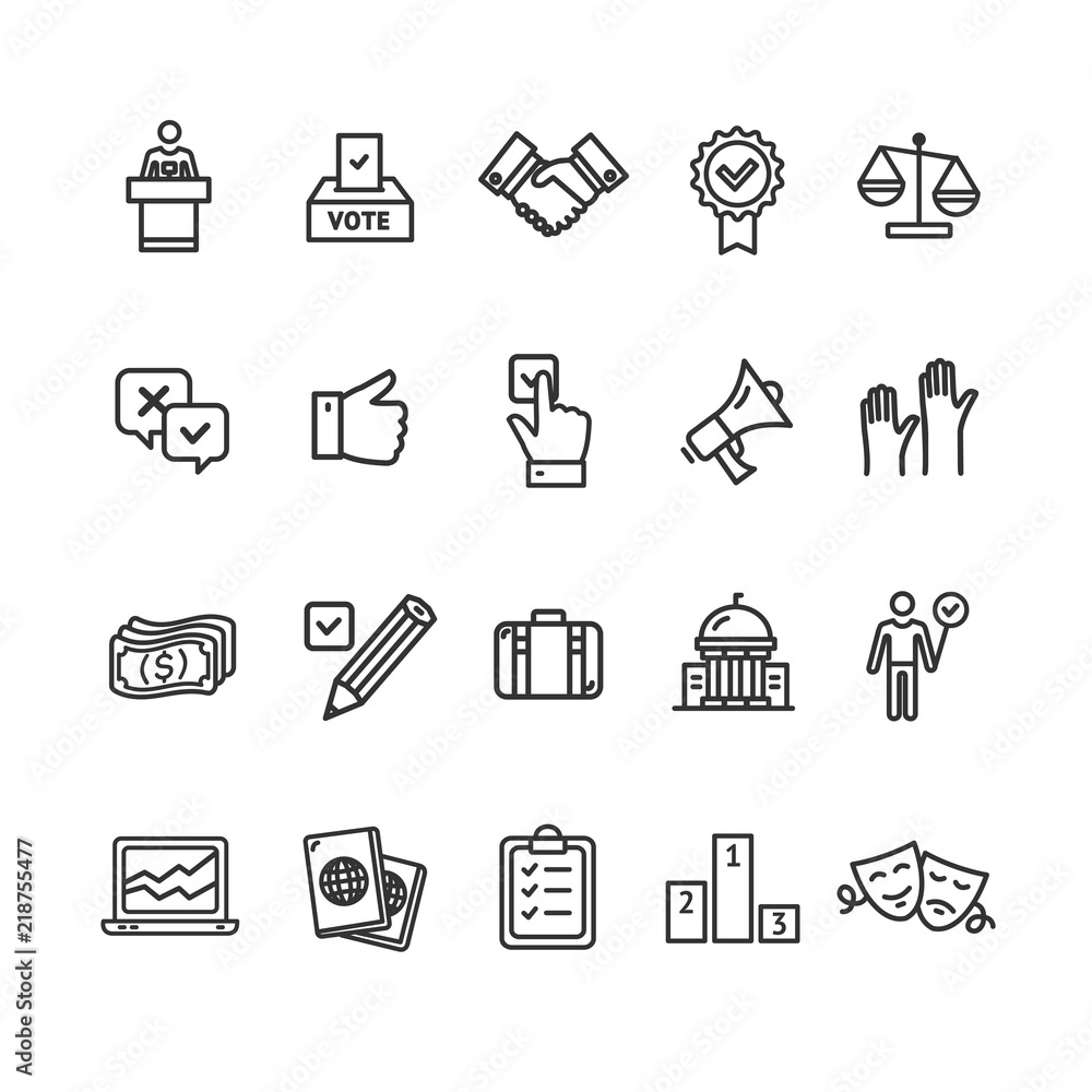 Fototapety, obrazy: Election Signs Black Thin Line Icon Set. Vector