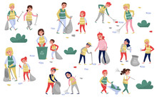 Volunteers Gathering Garbage And Plastic Waste For Recycling Set, Parents And Children Taking Part In Garbage Collection, Environmental Protection And Education Concept Vector Illustrations