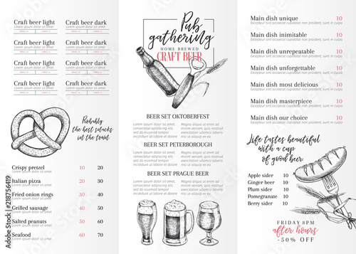 hand drawn oktoberfest pub menu template beer and snacks vector