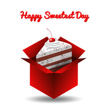 Sweetest Day. Concept Of A Sweet Holiday. Cake In The Open Red Box.
