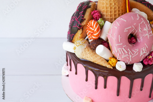 Cake With Pink Cream In Chocolate For Childrens Birthday Sweets Decorated Waffle Cone