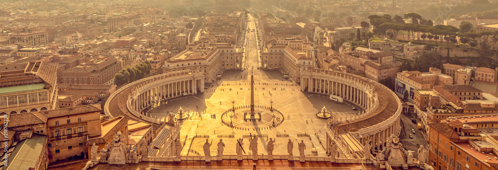 Fototapety, obrazy: Panoramic aerial view of St Peter's square in Vatican, Rome Italy
