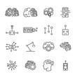 Artificial intelligence robotics outline icons collection with abstract brains, micro chips and robotic body parts symbols.Futuristic computer technology science icons set.