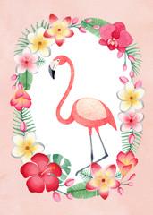 Fototapeta Do pokoju dziecka Watercolor tropical floral wreath and a flamingo. Perfect for greeting card or invitation