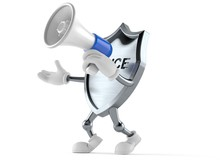 Police Badge Character Speaking Through A Megaphone
