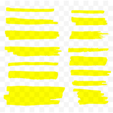 Highlighter Brush Set. Hand Drawn Yellow Highlight Marker Stripes. Vector Illustration