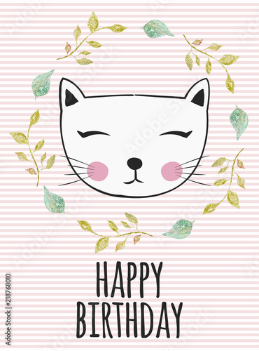 Tuinposter Retro sign kitty birthday