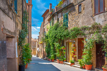 Beautiful Flower Street In A Medieval Village In Tuscany. Pitigliano. Italy